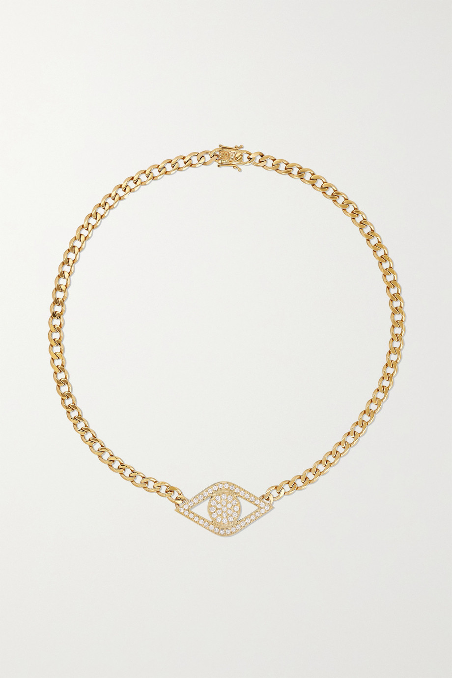 Sydney Evan Evil Eye 14-karat gold diamond necklace