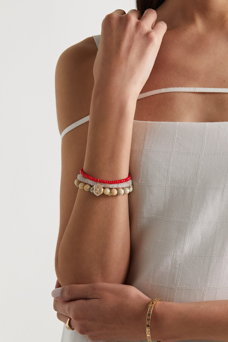 Sydney Evan Bracelet en or 14 carats, corail et diamants Small Love