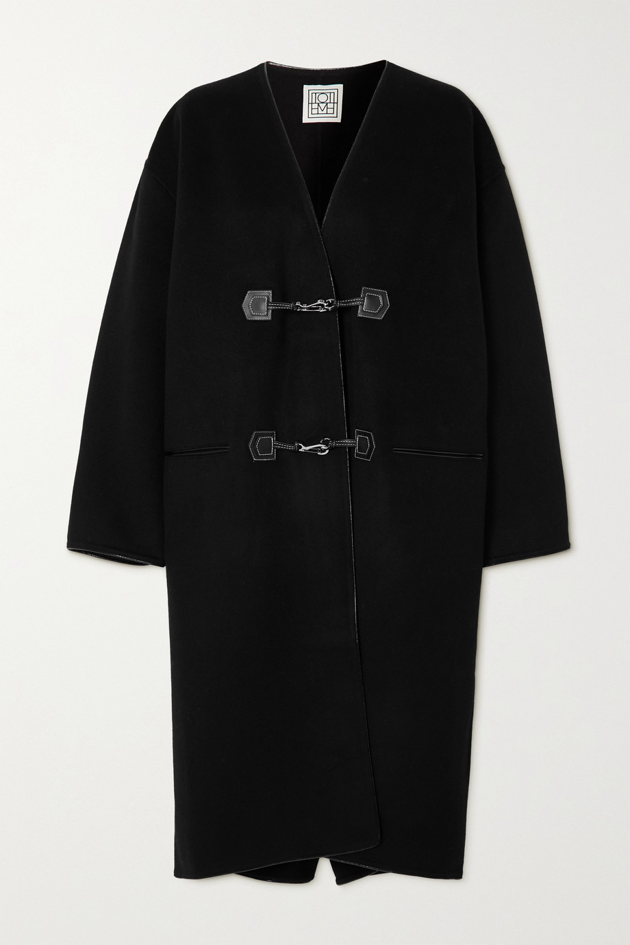 Totême Leather-trimmed brushed wool and cashmere-blend coat
