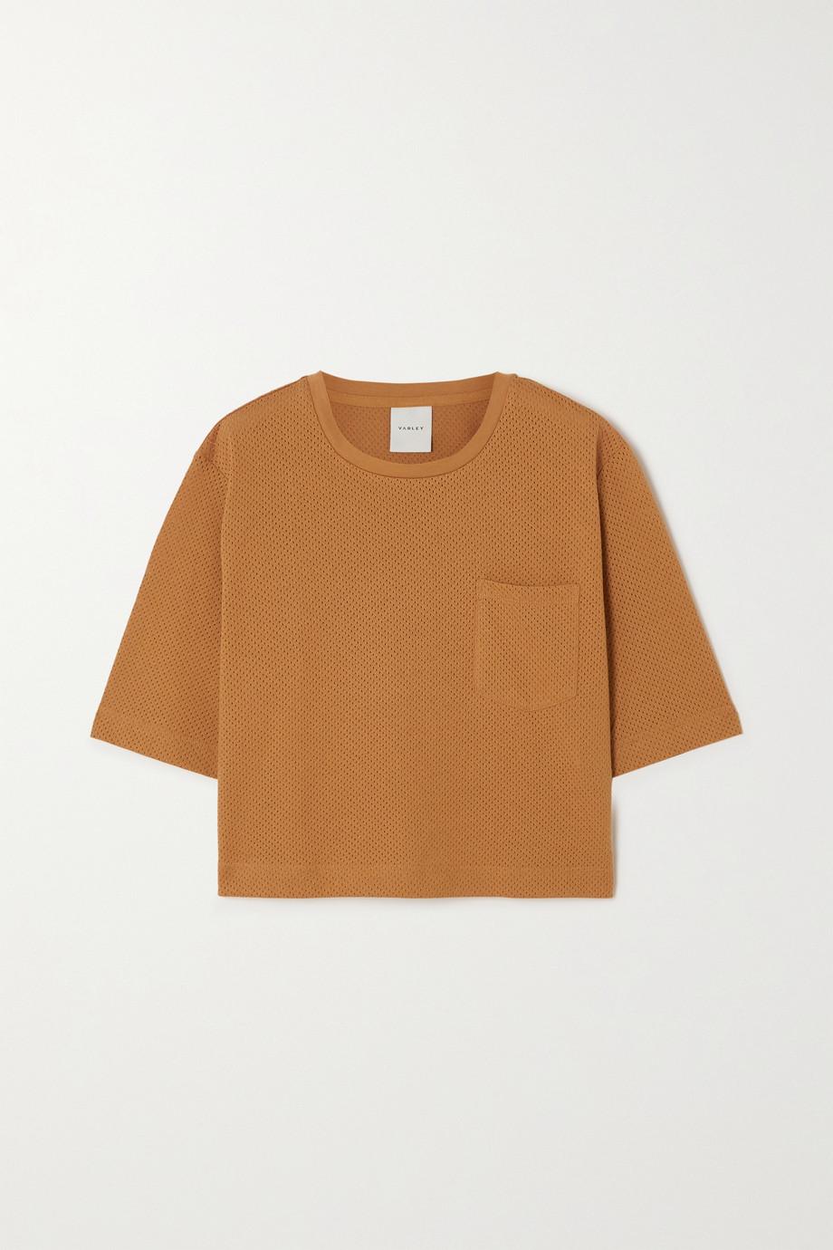 Varley Bexley verkürztes, perforiertes T-Shirt aus Baumwoll-Jersey