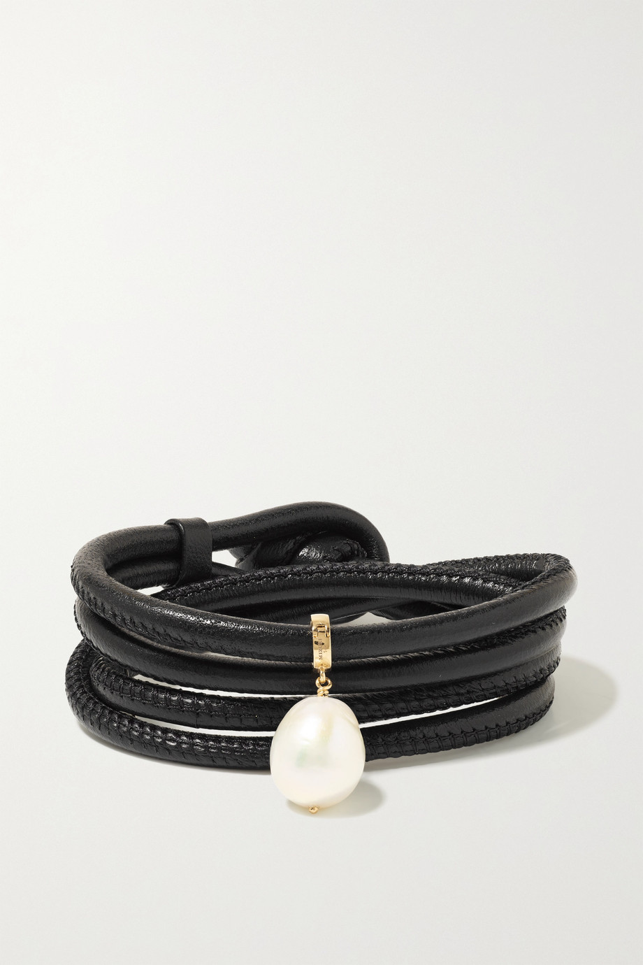 Mizuki Convertible 14-karat gold, leather and pearl bracelet