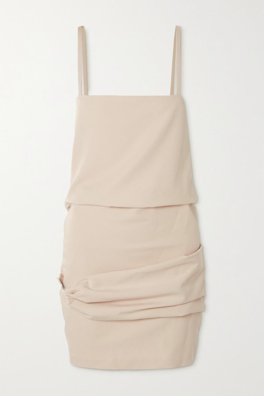 The Attico Embellished draped twill mini dress