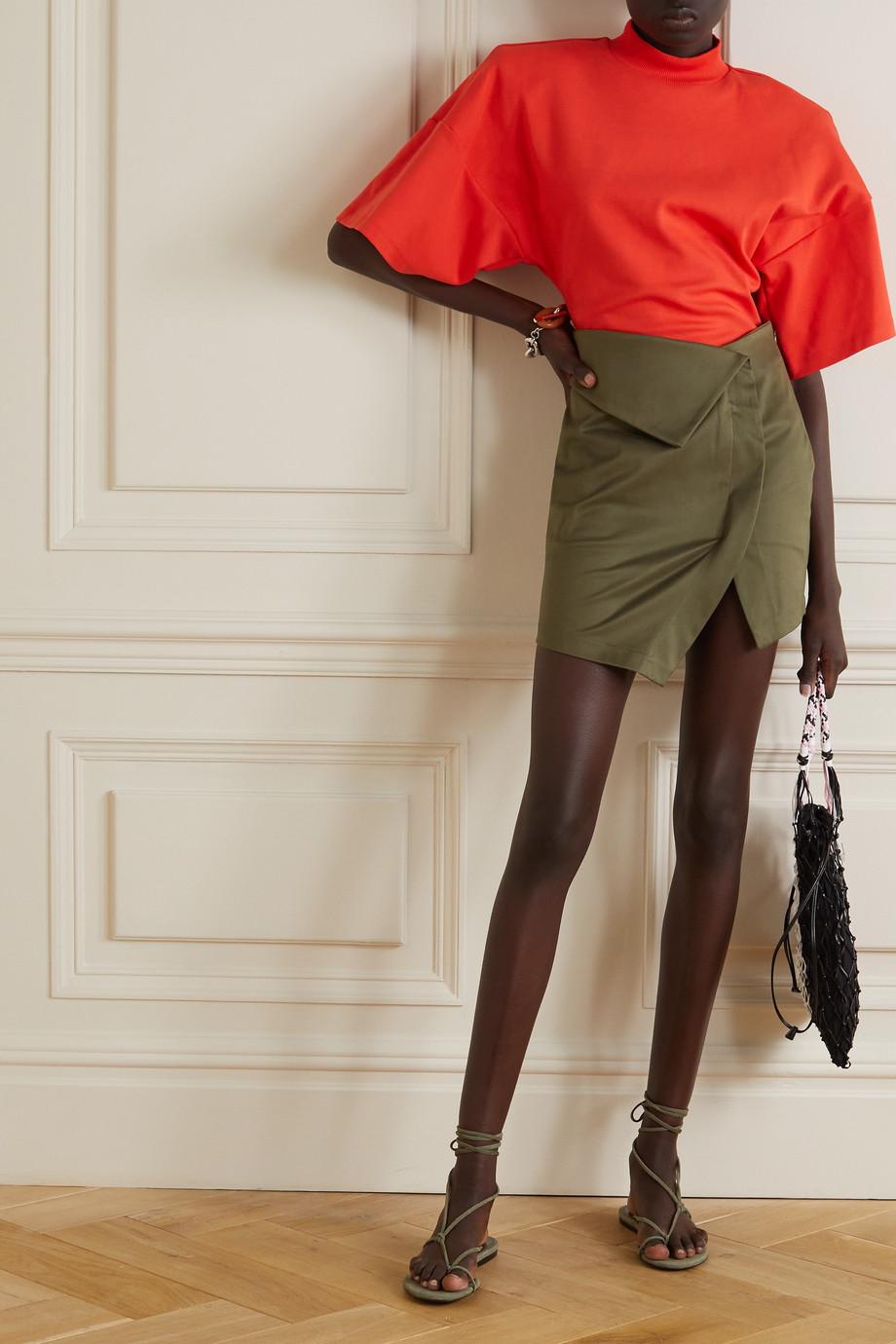 The Attico Asymmetric cotton-blend sateen mini skirt