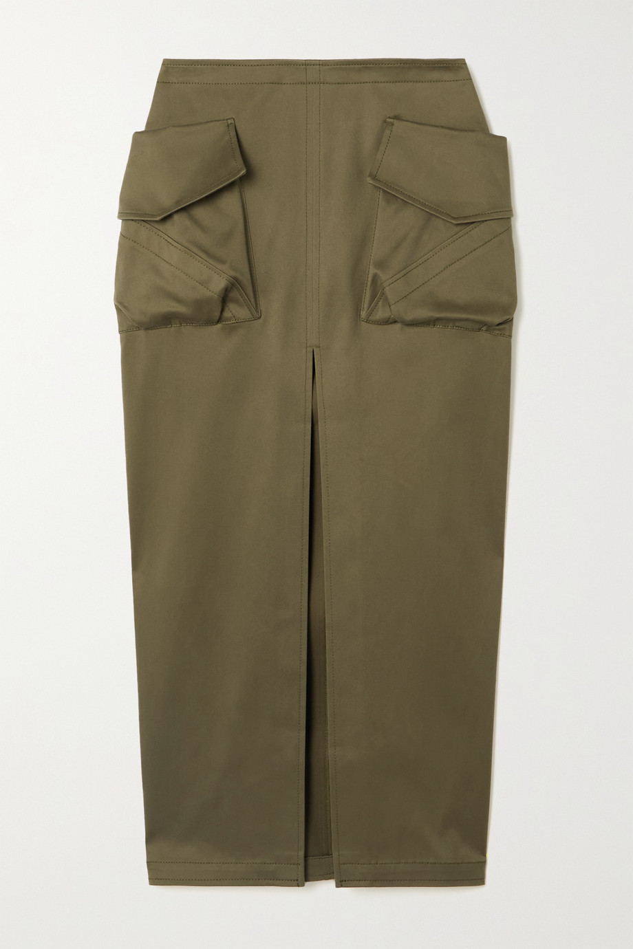 The Attico Cotton-blend sateen midi skirt