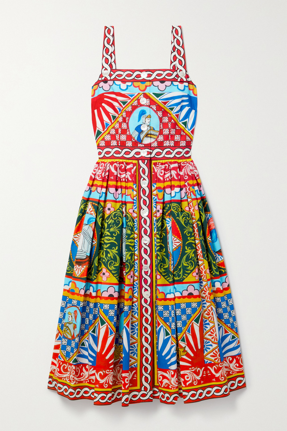 Dolce & Gabbana Midikleid aus bedruckter Baumwollpopeline