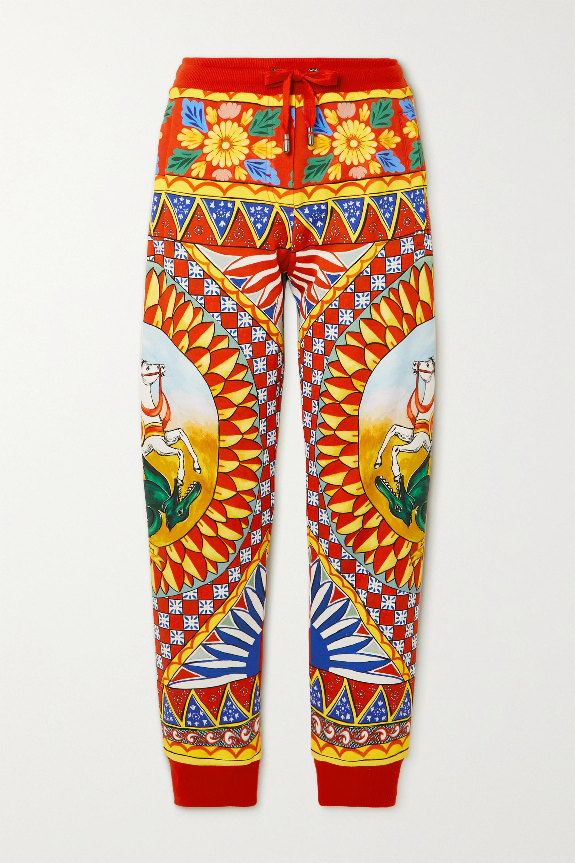 Dolce & Gabbana Pantalon de survêtement en jersey de coton imprimé