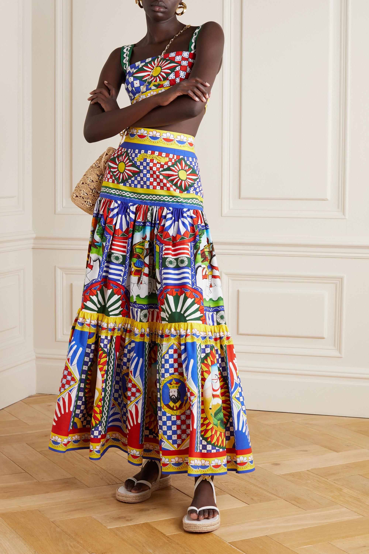 Dolce & Gabbana Jupe longue en popeline de coton imprimée à fronces