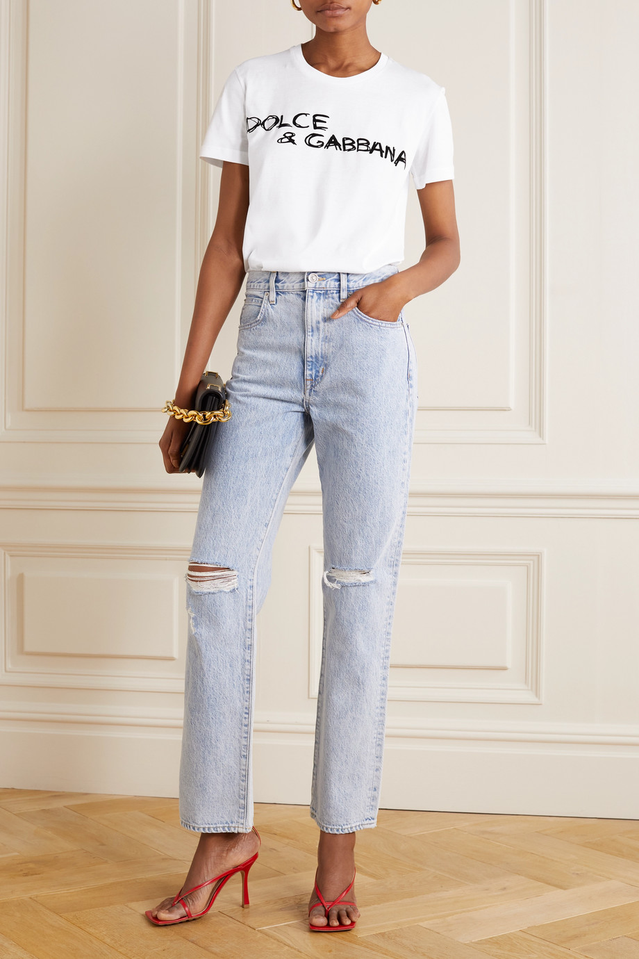 Dolce & Gabbana Flocked cotton-jersey T-shirt