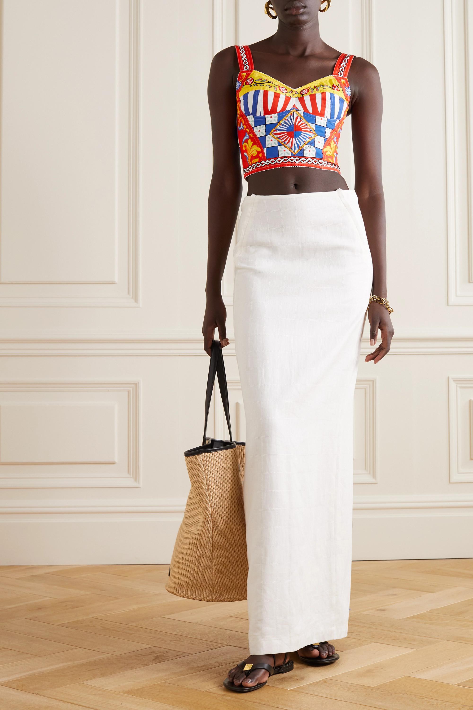 Dolce & Gabbana Printed cotton-blend poplin bralette