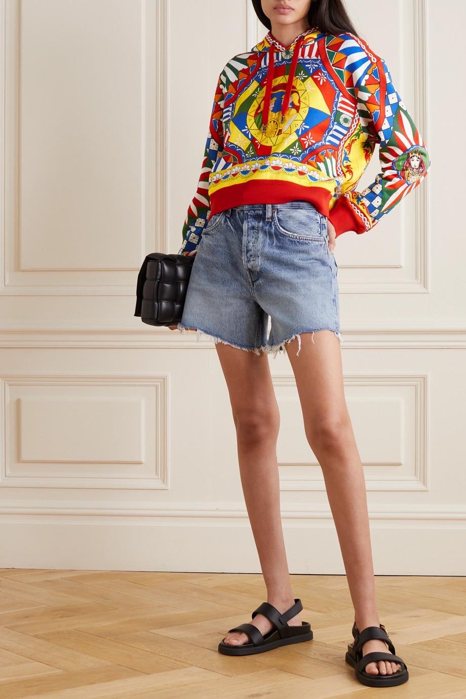 Dolce & Gabbana Sweat à capuche raccourci en jersey de coton imprimé