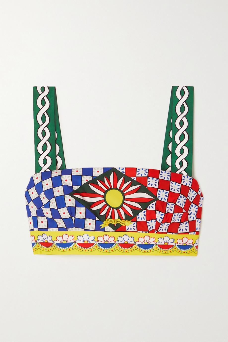 Dolce & Gabbana Cropped printed cotton-poplin top