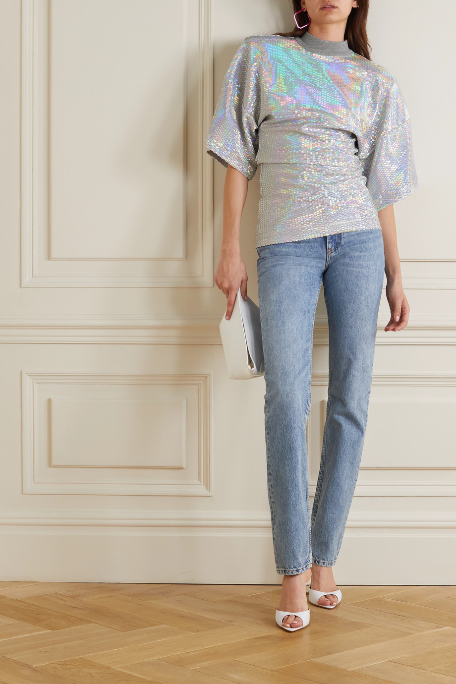 The Attico Iridescent cotton-jersey T-shirt