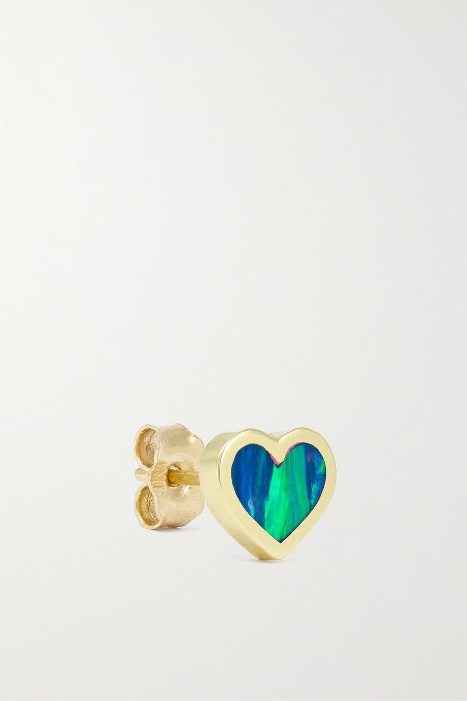 Jennifer Meyer Extra Small Heart 18-karat gold opal earrings