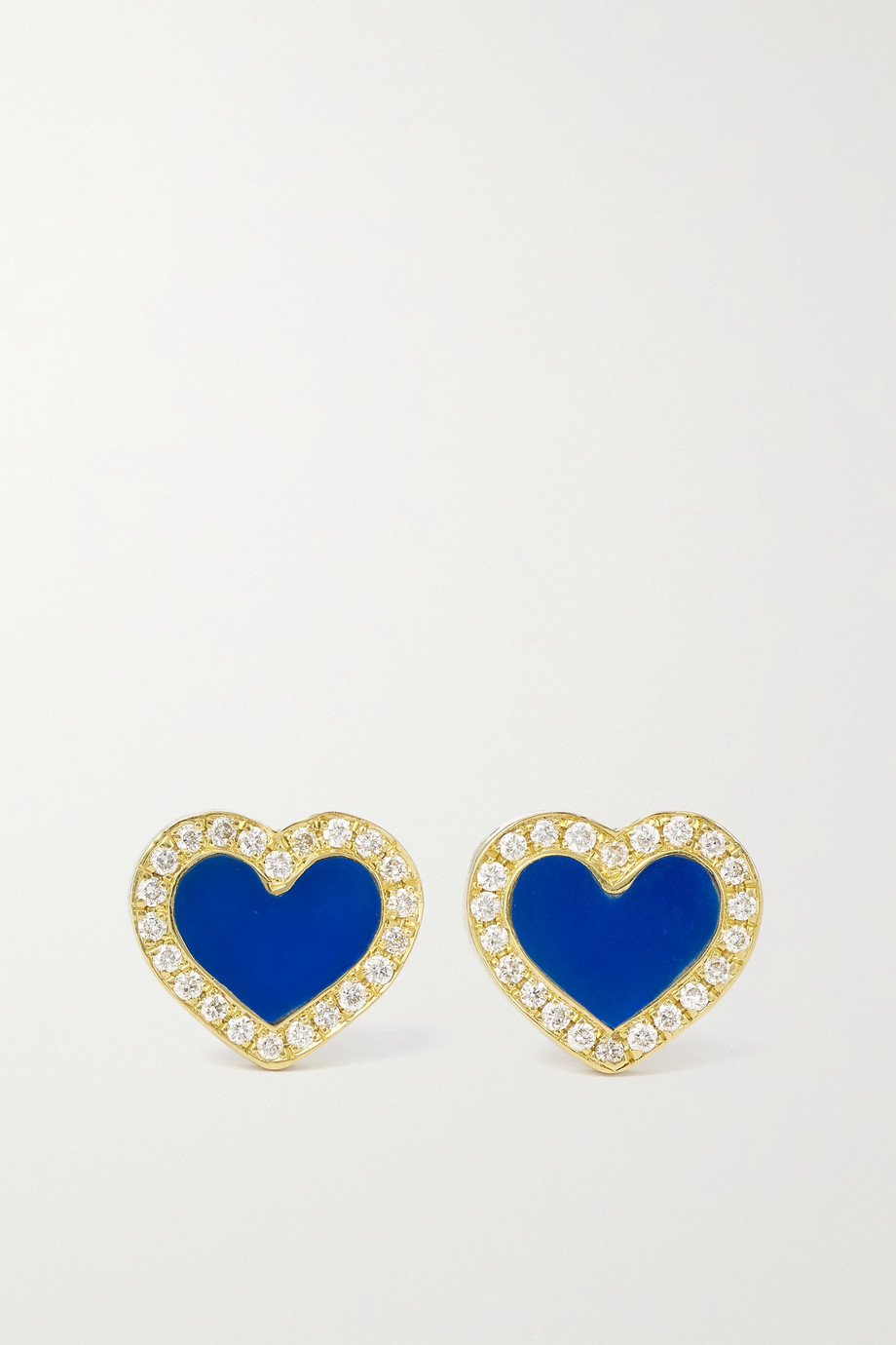 Jennifer Meyer Extra Small Heart 18-karat gold, lapis lazuli and diamond earrings