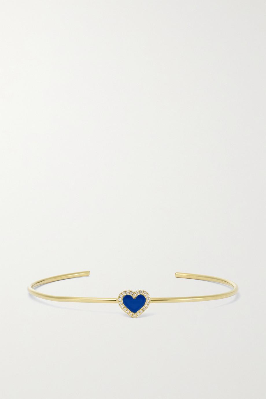 Jennifer Meyer Extra Small Heart 18-karat gold, lapis lazuli and diamond cuff