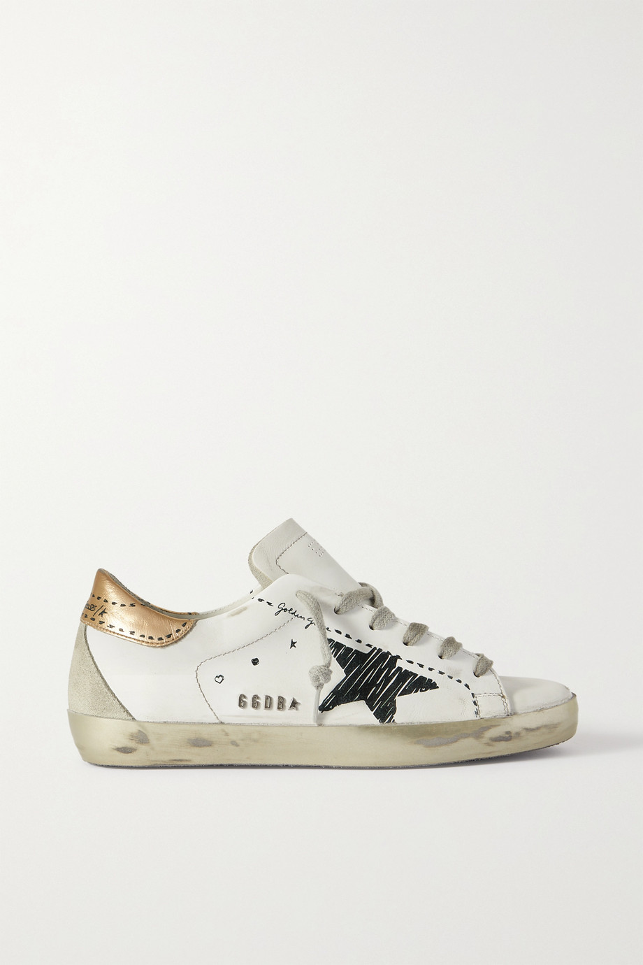 Golden Goose Superstar distressed suede-trimmed printed leather sneakers