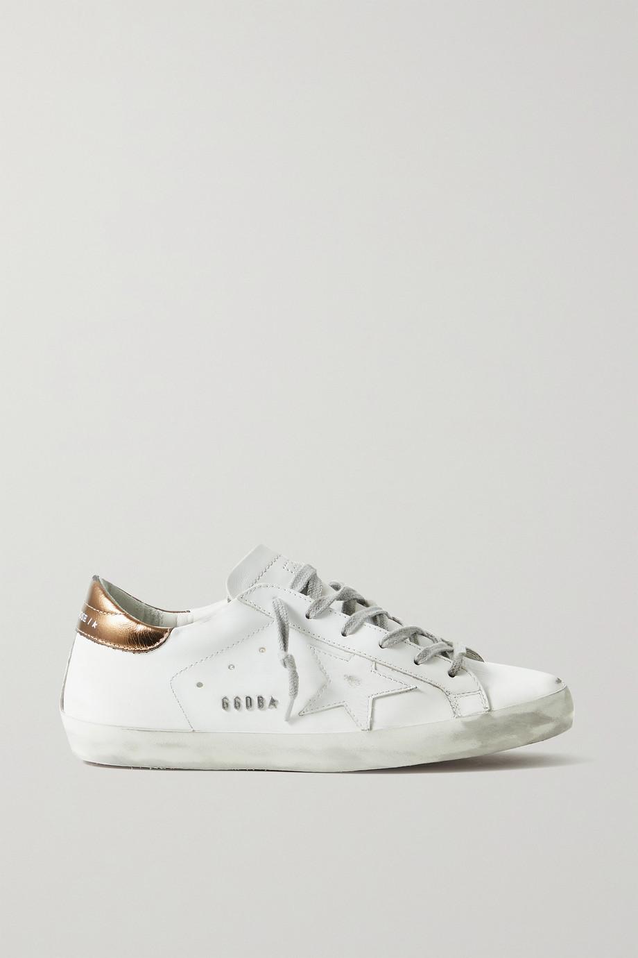 Golden Goose Superstar distressed metallic leather sneakers