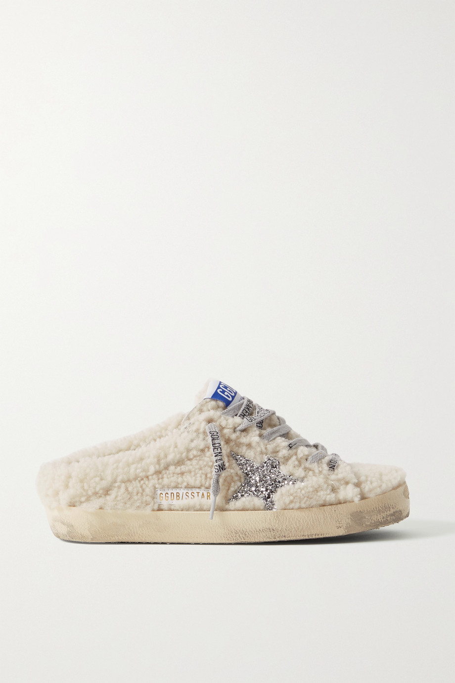Golden Goose Superstar Sabot distressed glittered shearling slip-on sneakers