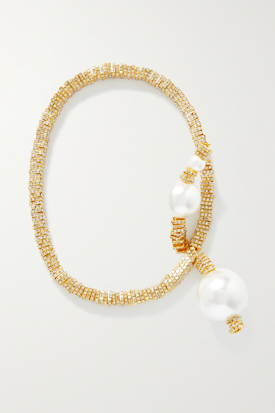 PEARL OCTOPUSS.Y Collier convertible en plaqué or, cristaux et perles synthétiques Golden Snake