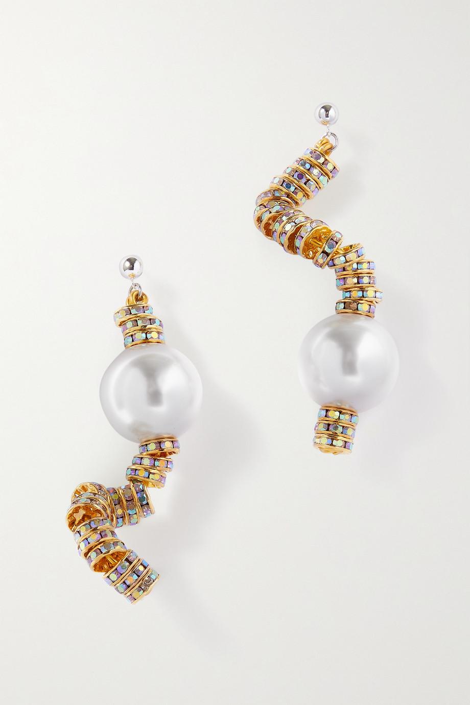 PEARL OCTOPUSS.Y Boucles d'oreilles en plaqué or, cristaux et perles synthétiques Snake