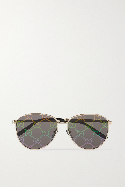 Gucci Lunettes de soleil rondes effet miroir en métal doré