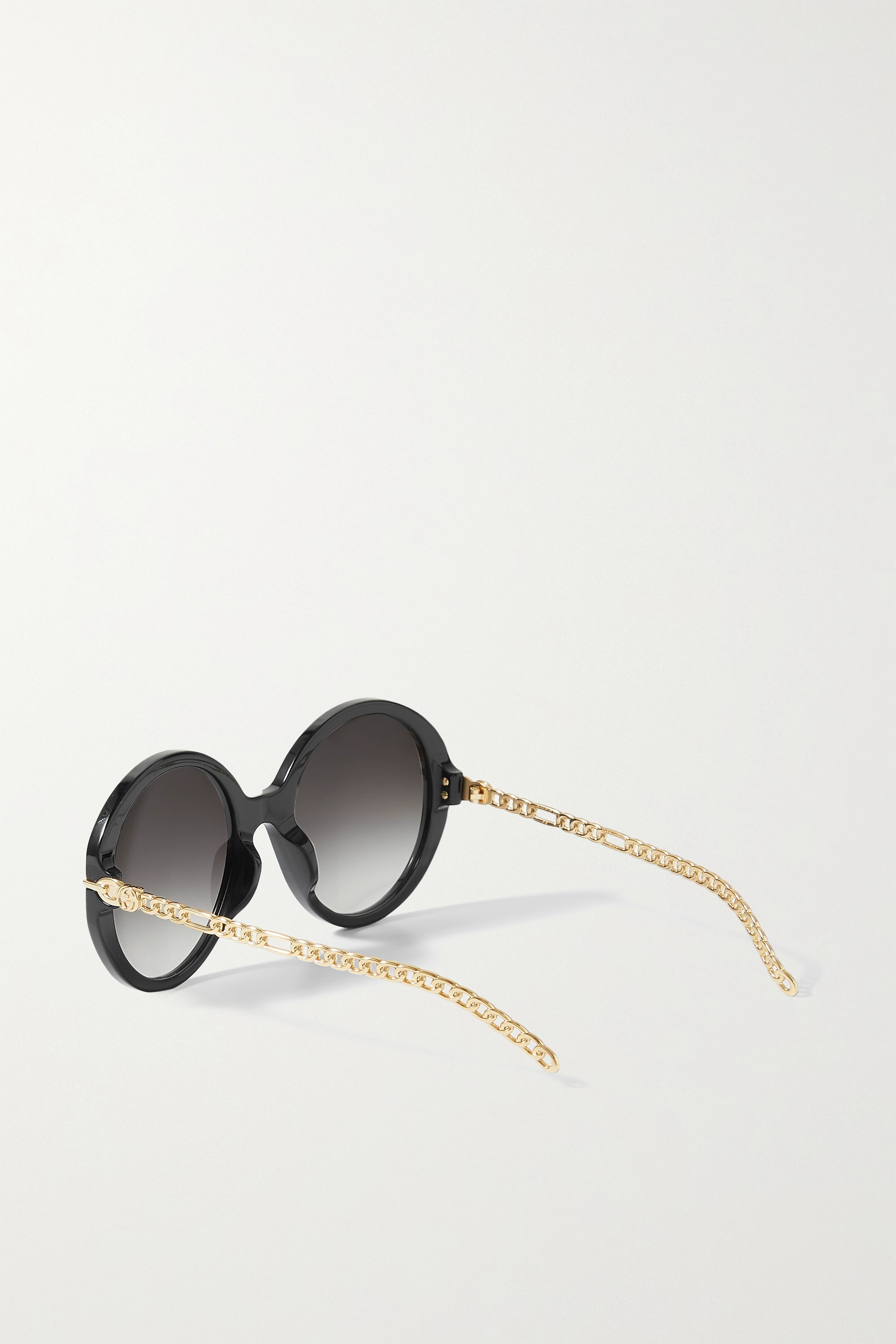 Gucci Oversized round-frame embellished acetate and gold-tone sunglasses
