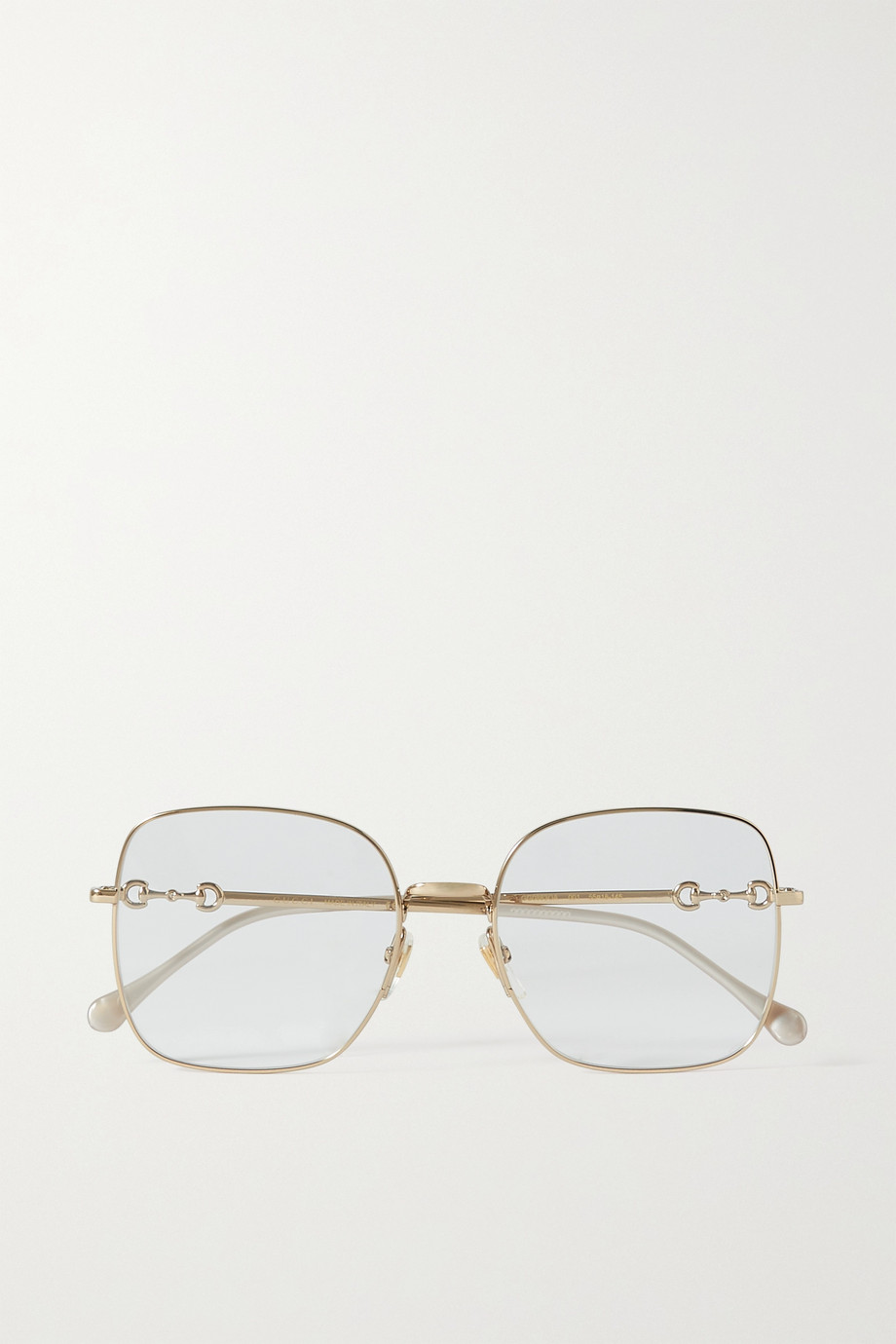 Gucci Horsebit-detailed square-frame gold-tone optical glasses