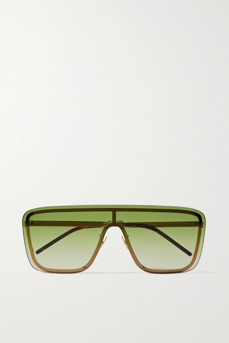 SAINT LAURENT Goldfarbene Sonnenbrille mit D-Rahmen