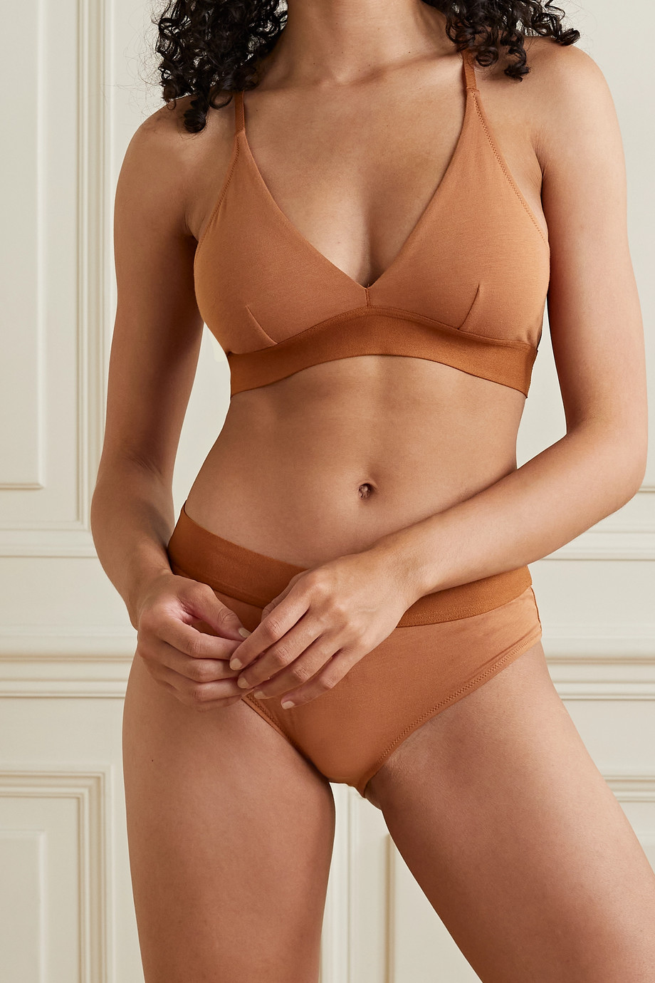 Skin + NET SUSTAIN Hadlee stretch-organic Pima cotton soft-cup triangle bra
