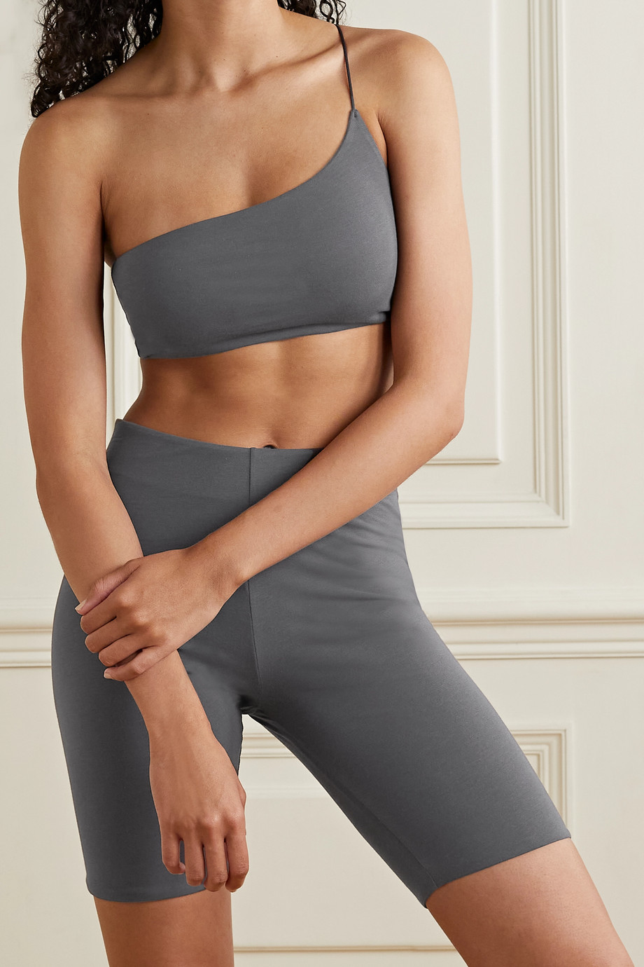 Skin + NET SUSTAIN Bia reversible one-shoulder stretch organic Pima cotton-jersey soft-cup bralette