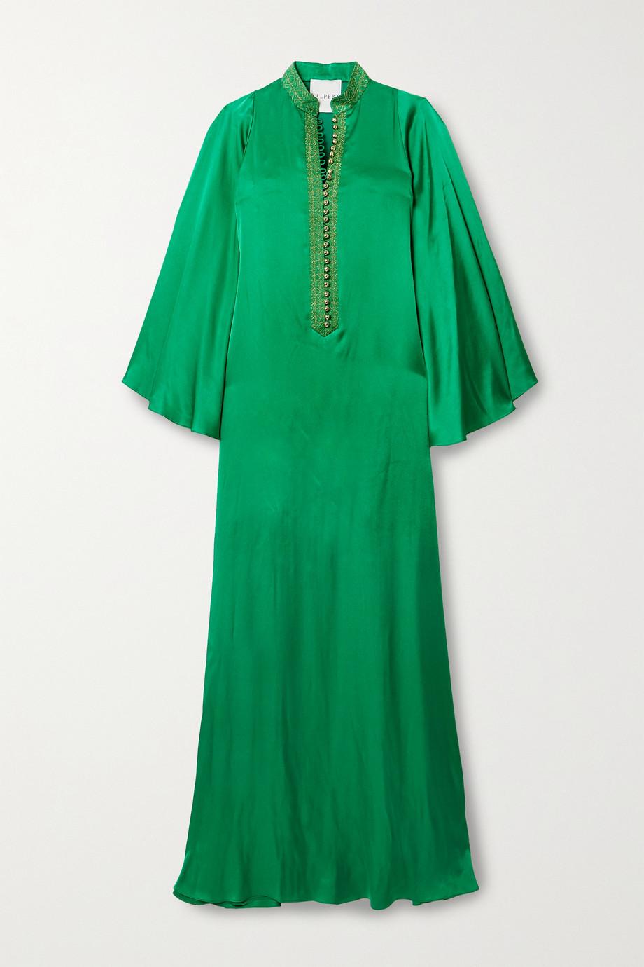 Halpern Robe longue en satin à broderies