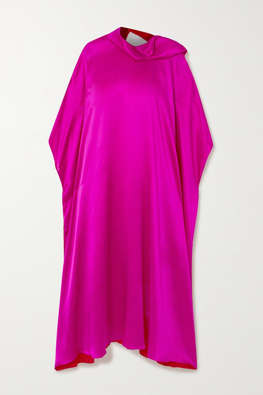 Halpern Robe longue à col noué en satin de soie mélangée bicolore