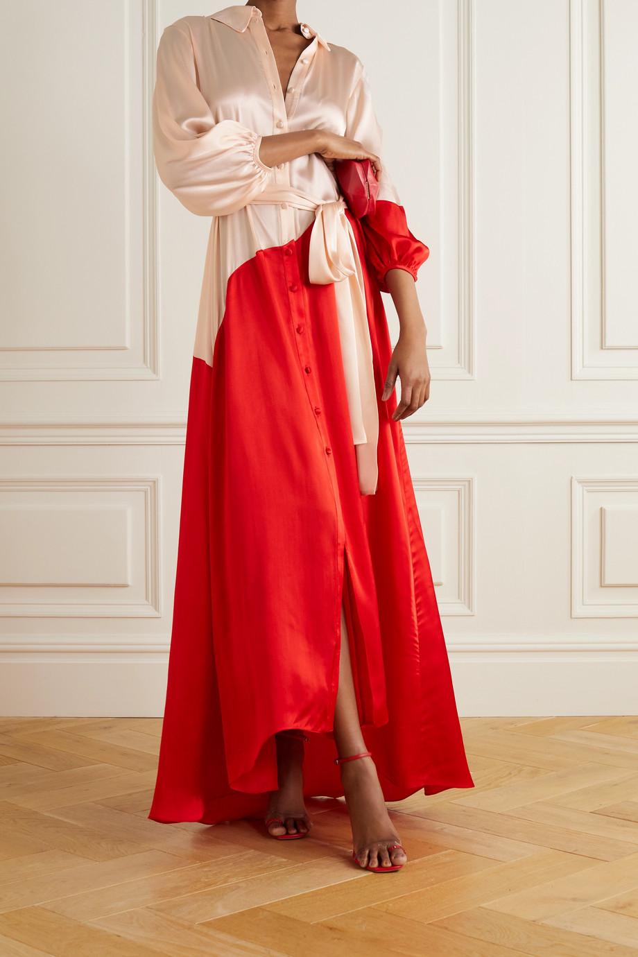 Halpern Robe longue asymétrique en satin bicolore à ceinture