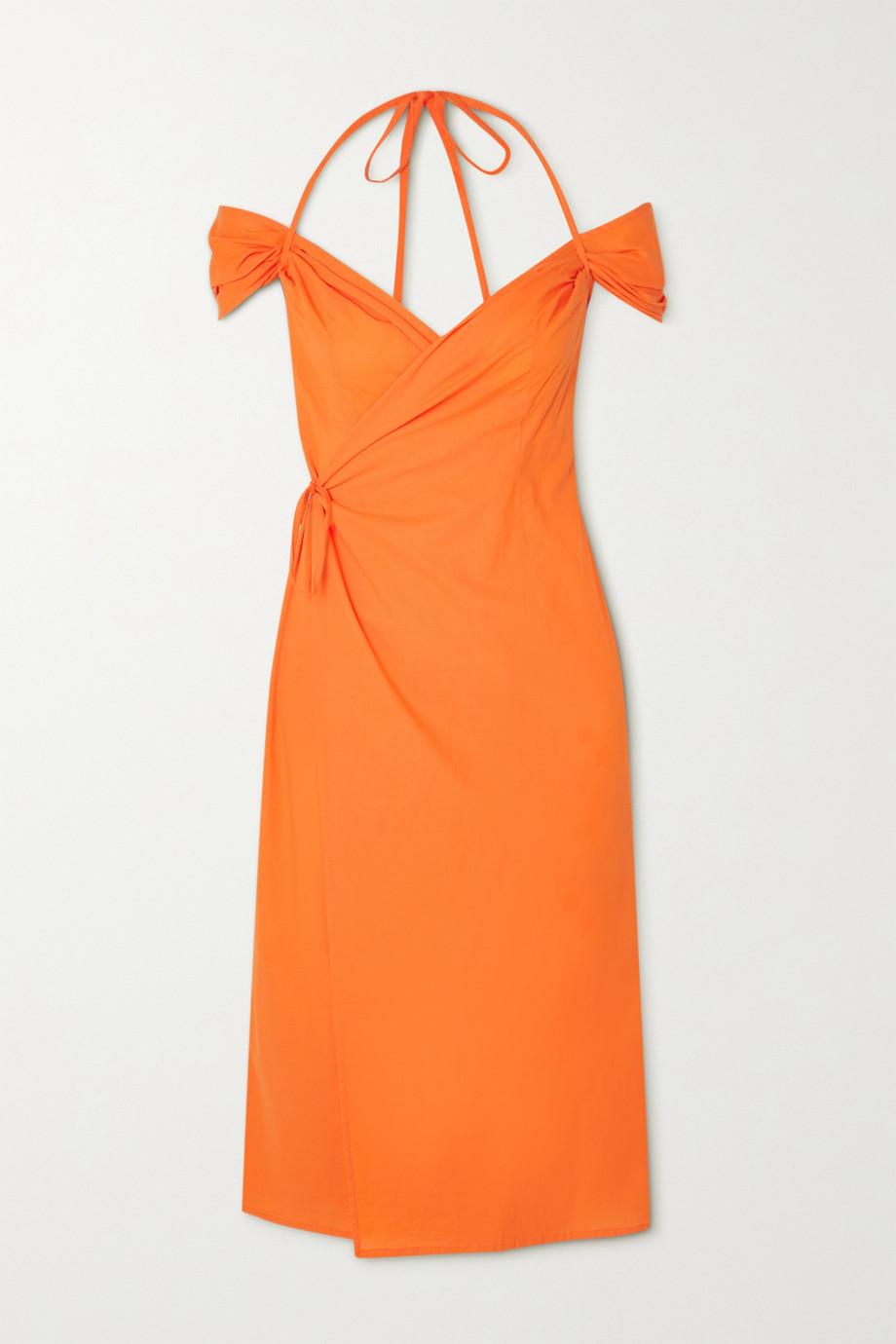ioannes Romeo cold-shoulder cotton halterneck wrap dress
