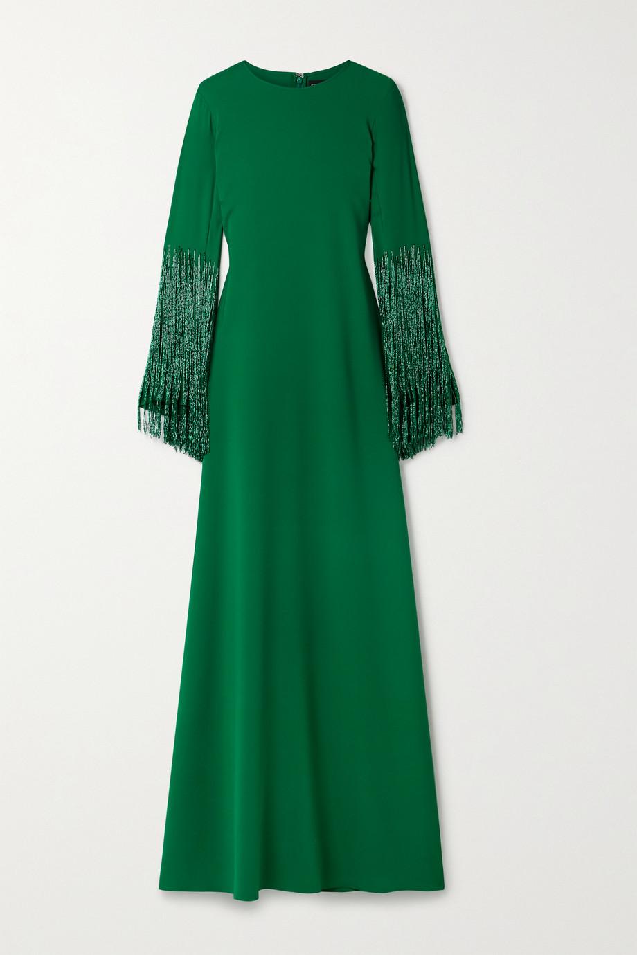 Oscar de la Renta Bead-embellished stretch-silk georgette gown
