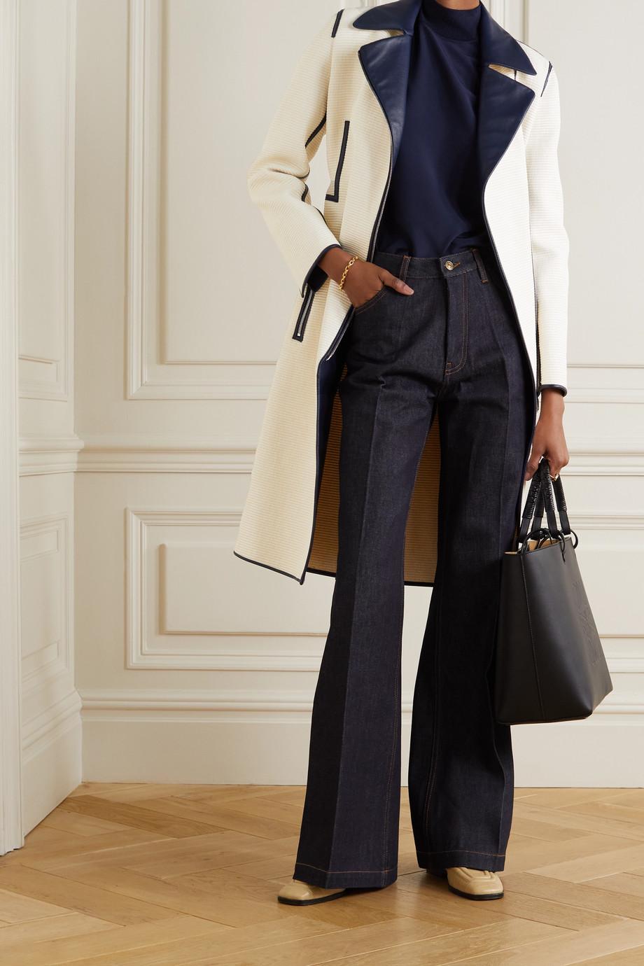 Akris Trench-coat en coton mélangé à finitions en cuir et à ceinture