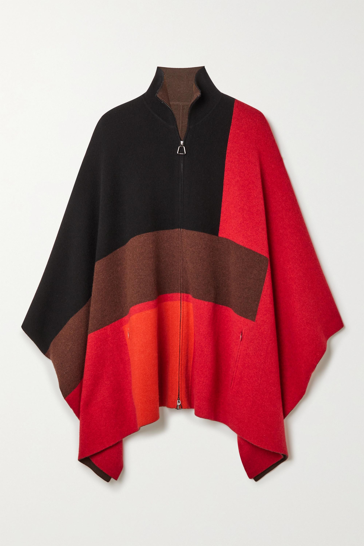 Akris Poncho réversible en cachemire color-block
