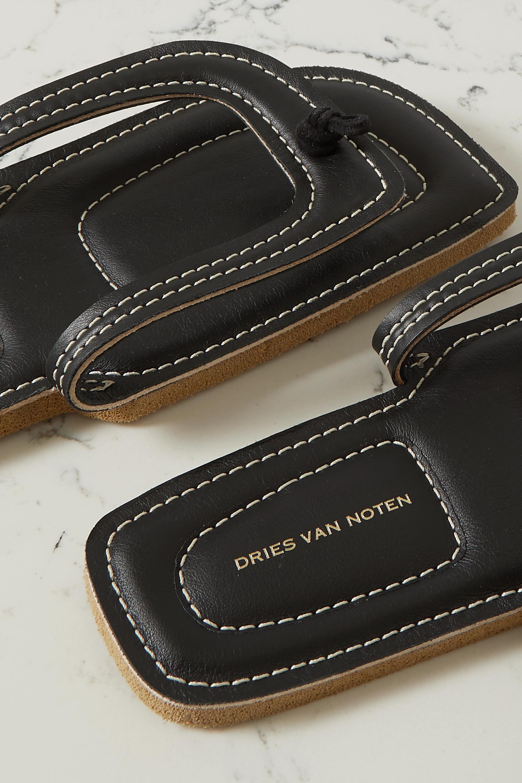 Dries Van Noten Topstitched leather flip flops
