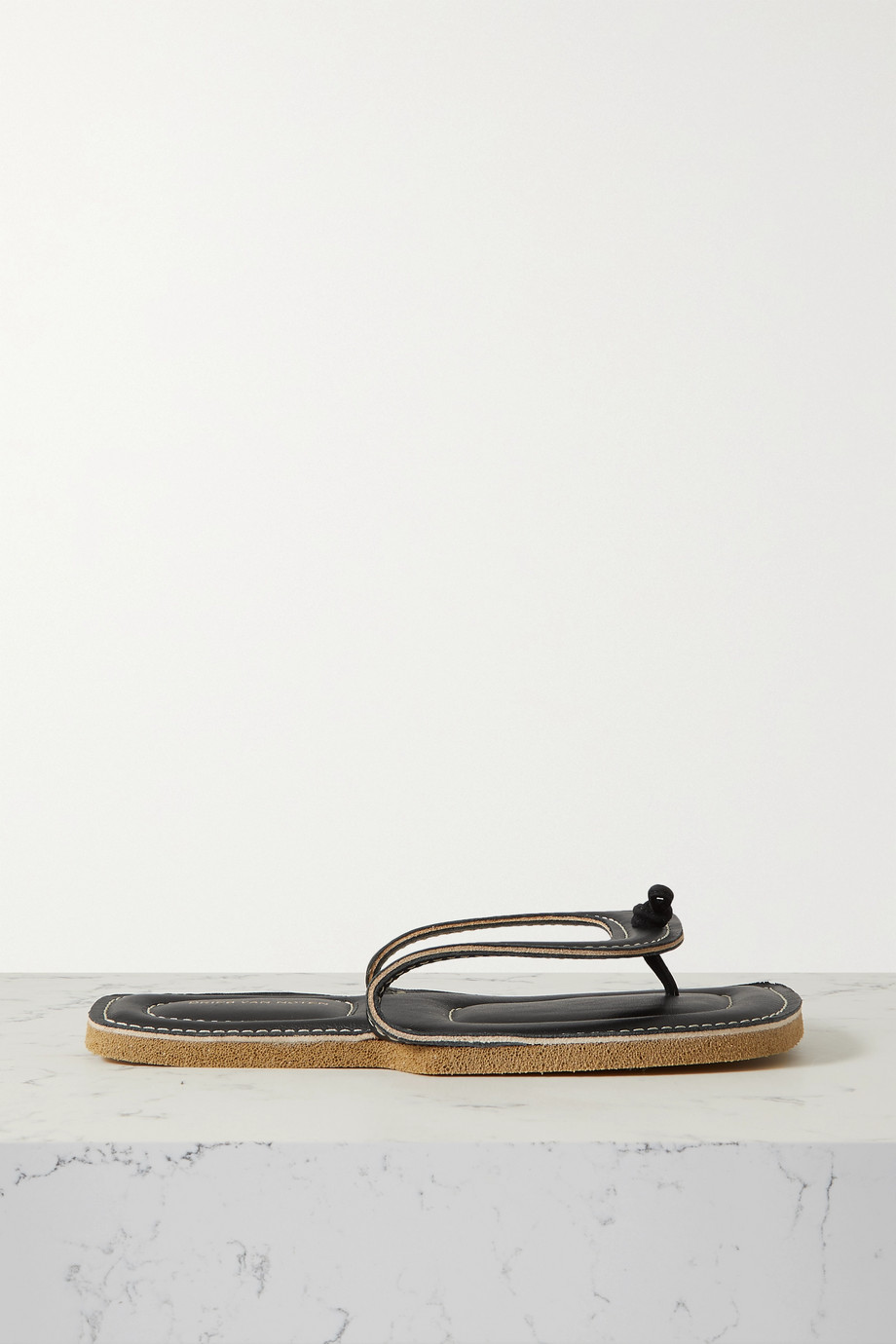 Dries Van Noten Tongs en cuir à surpiqûres
