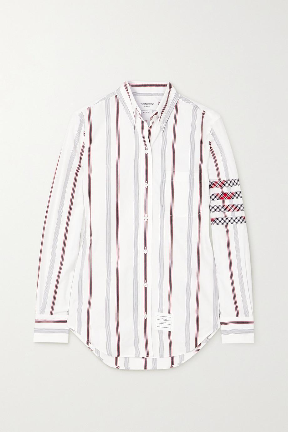 Thom Browne Checked silk-trimmed striped cotton-poplin shirt