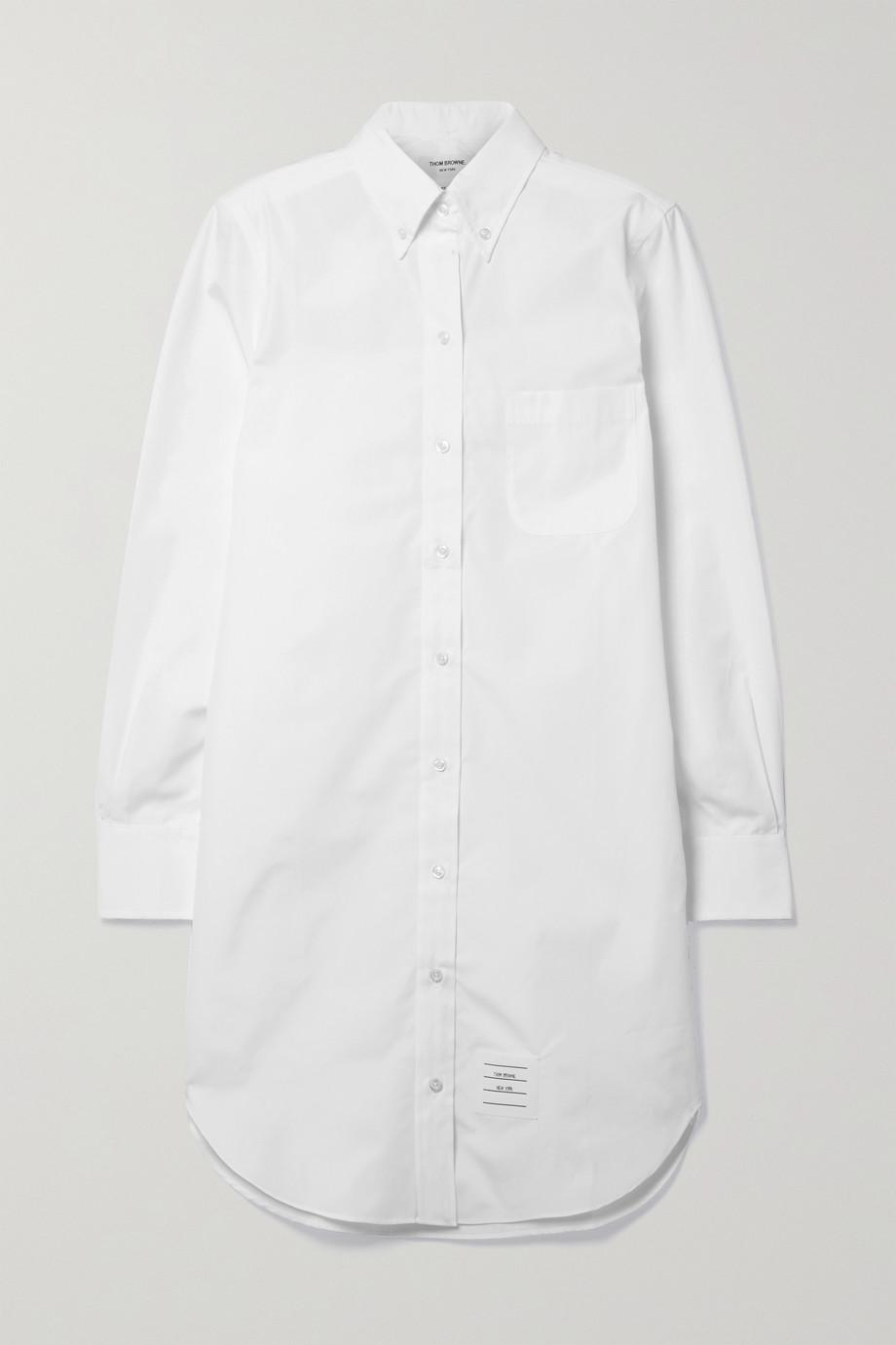 Thom Browne Appliquéd cotton-poplin mini shirt dress