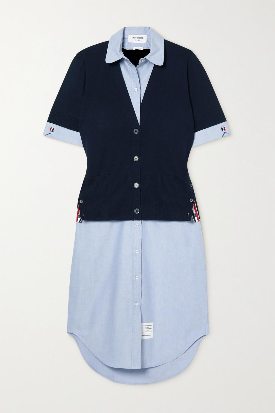 Thom Browne Grosgrain-trimmed merino wool and cotton-poplin shirt dress