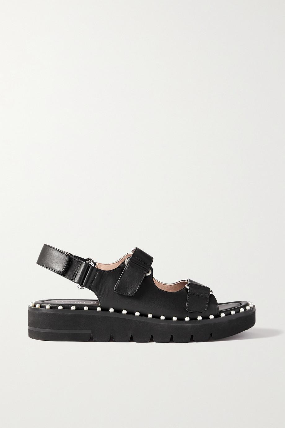 Stuart Weitzman Zoe faux pearl-embellished leather slingback sandals