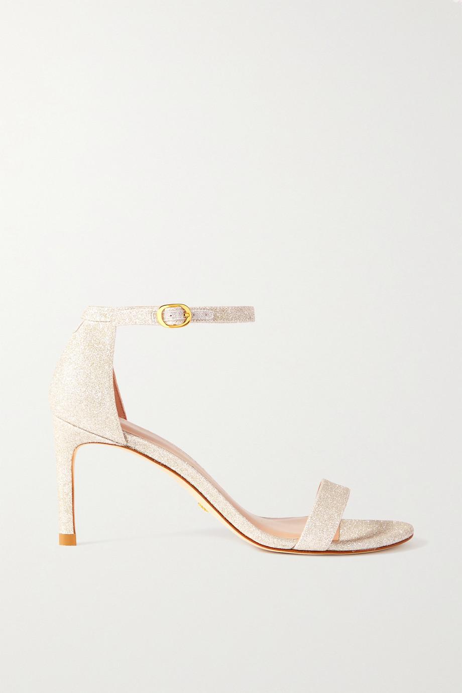 Stuart Weitzman Nunaked Sandalen aus Leder mit Glitter-Finish