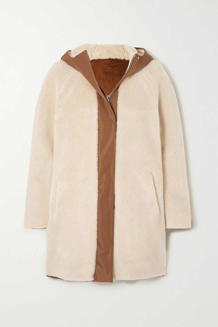 Loro Piana Manteau réversible à capuche en molleton de cachemire et soie mélangés et en satin mat