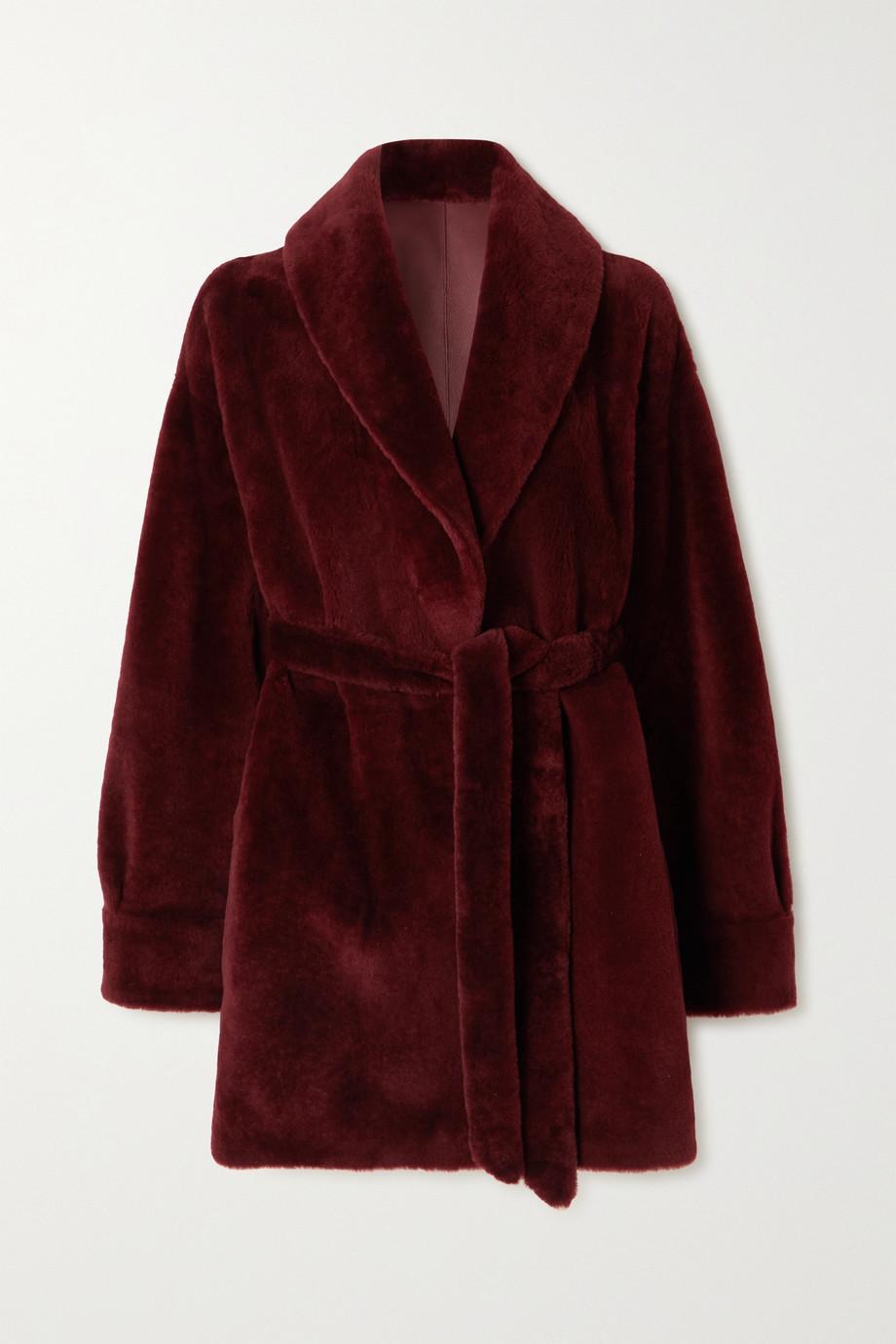 Loro Piana Manteau réversible à ceinture en peau lainée