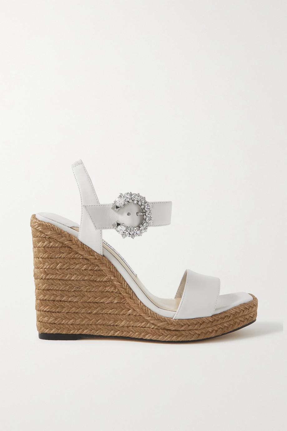 Jimmy Choo Mirabelle 110 crystal-embellished leather espadrille wedge sandals