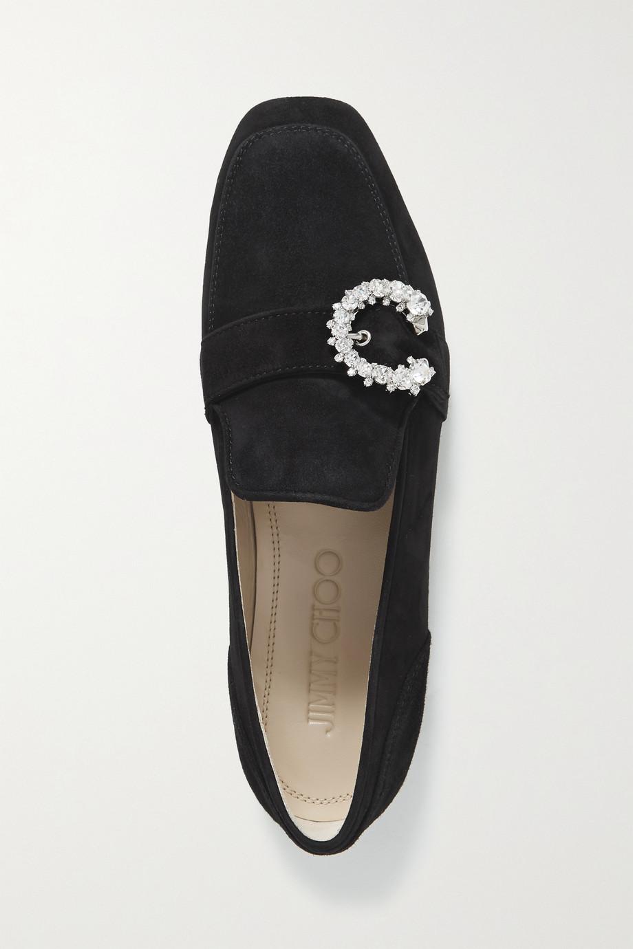 Jimmy Choo Mani crystal-embellished suede loafers