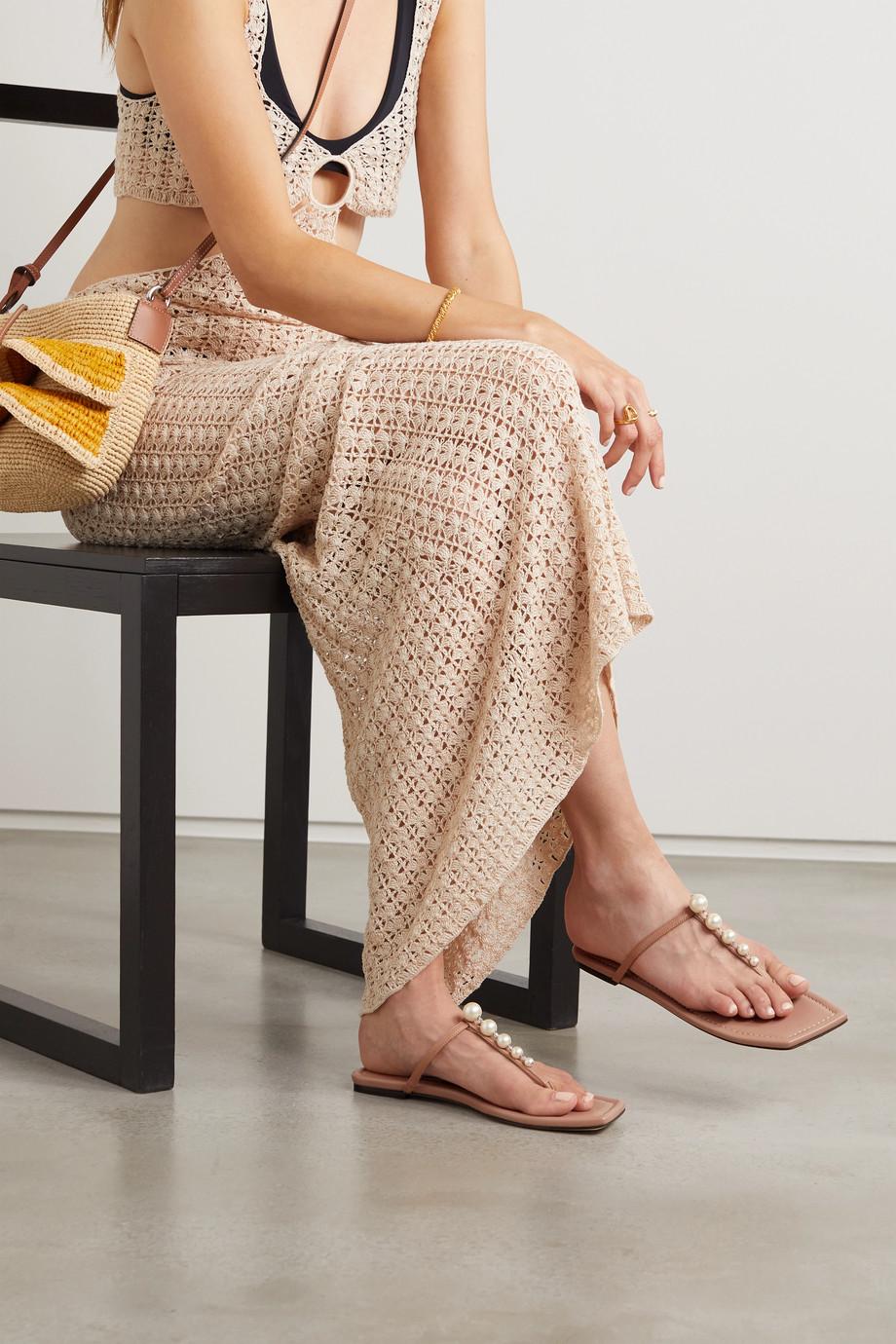 Jimmy Choo Alaina faux pearl-embellished leather sandals