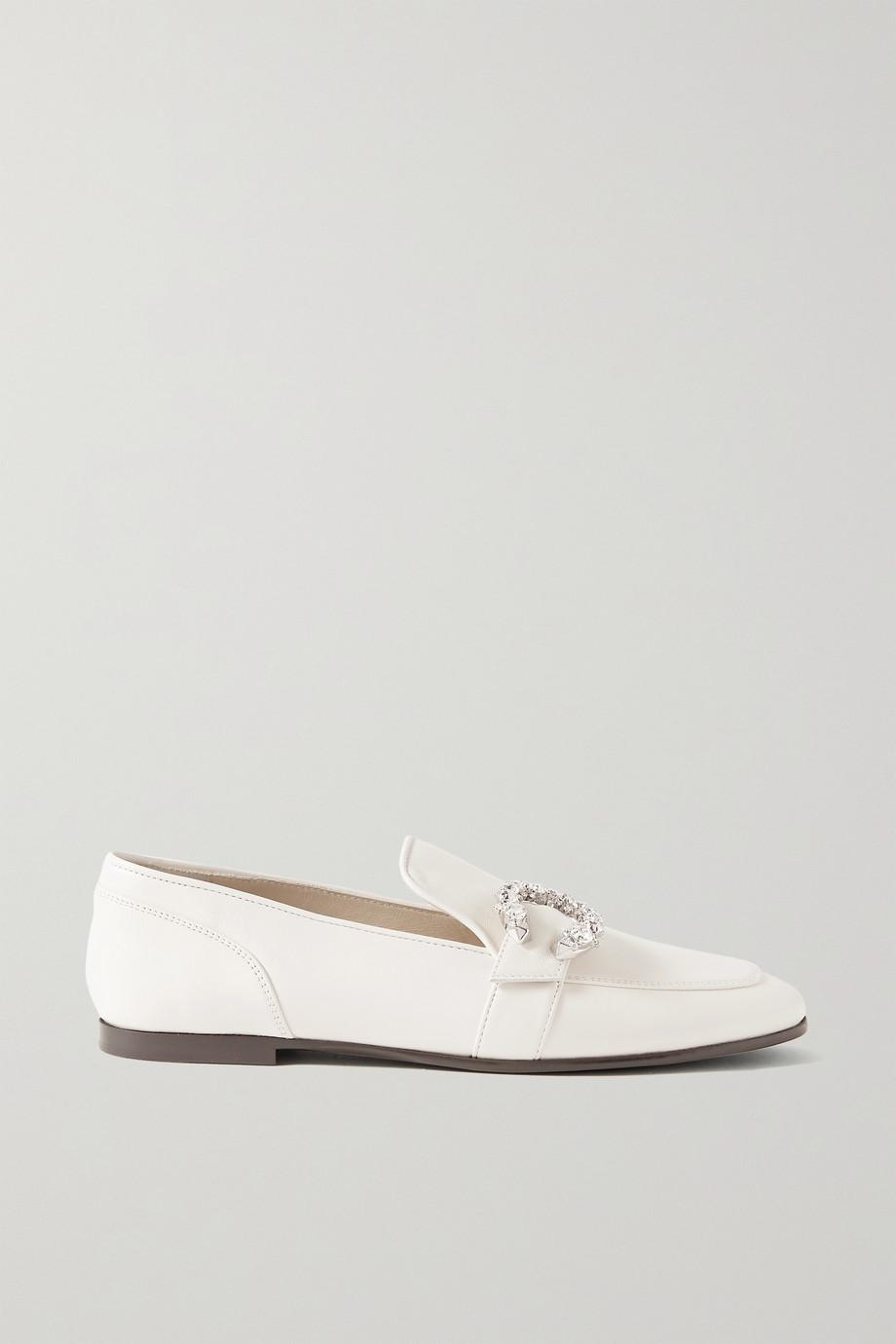 Jimmy Choo Mani crystal-embellished leather loafers